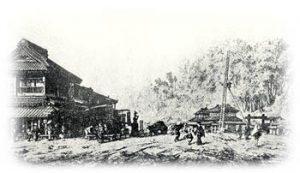 プロシア使節団は芝赤羽根の外国人接遇所に5か月近く滞在した。 随行の画家、ベルグが描いた江戸・芝の赤羽橋際